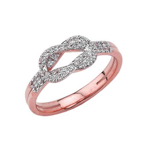 Kleine Schätze Damen Ring Diamant Hercules Love Knot Ring in 10 Karat Rotgold
