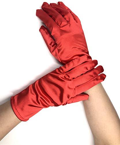 PANAX Edle kurze Damen Handschuhe aus elastischem Satin in Rot - Gloves in Einheitsgröße für Frauen, Hochzeiten, Oper, Veranstaltungen, Fasching, Karneval, Tanzen, Halloween...