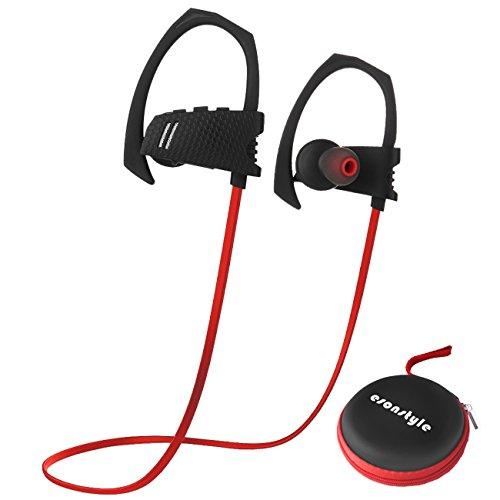 Esonstyle Bluetooth V4.1 Kopfhörer In-Ear-Kopfhörer Sport Ohrhörer mit Mikrofon für Joggen, Fitness, Fahrrad, Kompatibilität mit iPhone, Android, MP3 Und andere Bluetooth-Geräte(Schwarz + Rot)