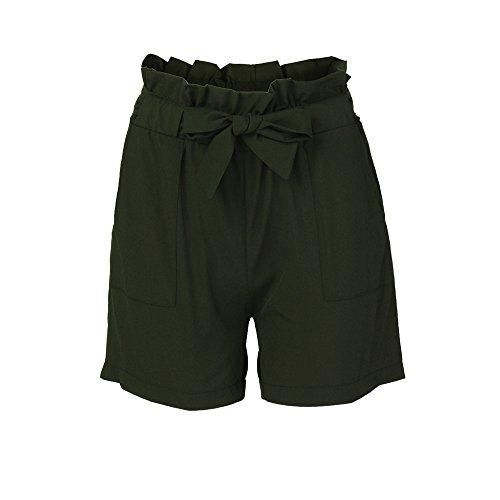 Retro Turnhose (KUDICO Damen Shorts Retro Gestreifte Kurz Hose Beach Sommerhosen mit Elastischem Taillenband High Waist Sporthosen Hotpants Strandshorts(Grün, EU-42/CN-2XL))
