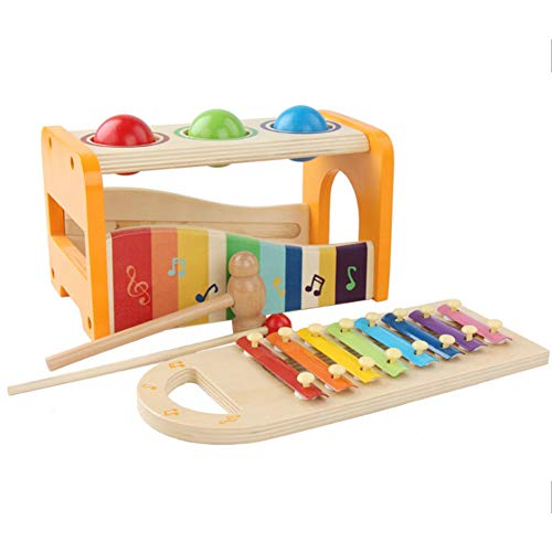 Rclhh Toys of Wood Oxford Juguete Musical Hammer and Balls - Juguete de Martillo y percusión Infantil en 1