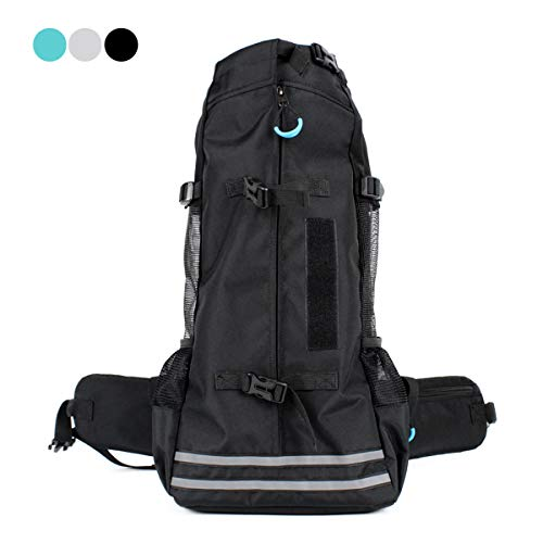 ubest Hohe Qualität Hunderucksack für Wandern, Atmungsaktiv Haustier Hund Katze Tasche Reise Rucksack für Kleine Mittele Hunde, Schwarz, L