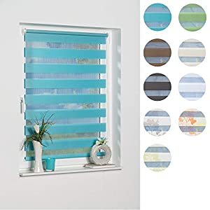 K Home 277196 Madrid Klemmfix Roller Blind No Drilling Required, Fabric, Fabric, blue, 150 x 100