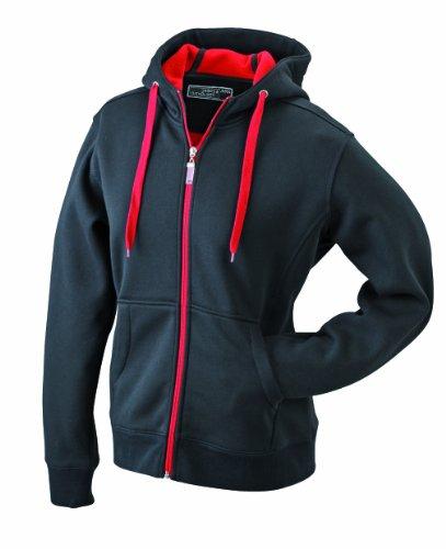 James & Nicholson Damen Doubleface Jacket Jacke, Schwarz (Black/red), 40 (Herstellergröße: XL) -