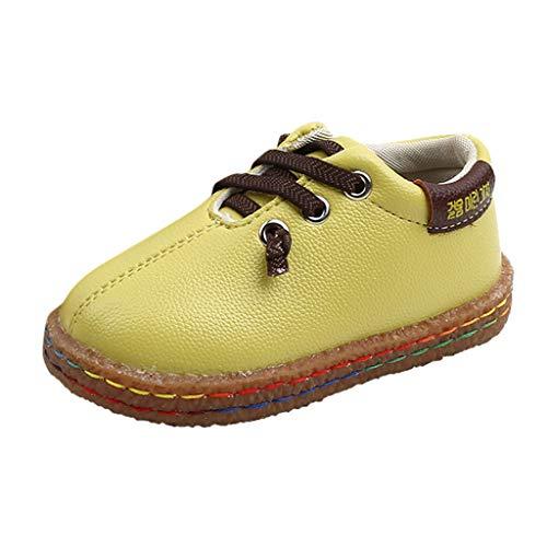 Alwayswin Jungen Lässige Lederschuhe Freizeitschuhe Einfarbig Einzelne Schuhe Mode Lace Up Turnschuhe Flache rutschfest Frühling und Herbst Kinder Schuhe Bequem Weich Anzug Schuhe