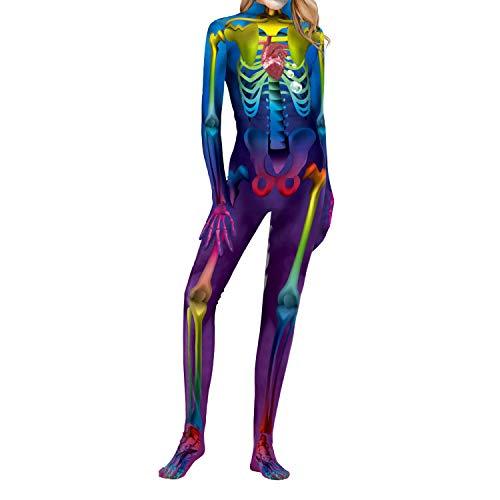 �me Mädchen Frauen Skeleton Skin Anzug Knochen Halloween Kostüm Overall-1-XL ()