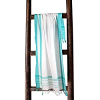 RAJRANG BRINGING RAJASTHAN TO YOU Turkish Beach Towel - Hamam Bath Towels 100% Cotton Bath For Sauna, Spa, Yoga - White and Green - 152x76 cm
