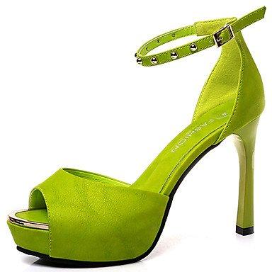 LvYuan Da donna Sandali PU (Poliuretano) Estate Formale Fibbia A stiletto Bianco Nero Verde Rosa 5 - 7 cm Green