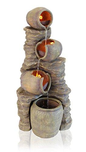 Fuente Cántaros de agua sobre Muro de Piedras - Luces LED