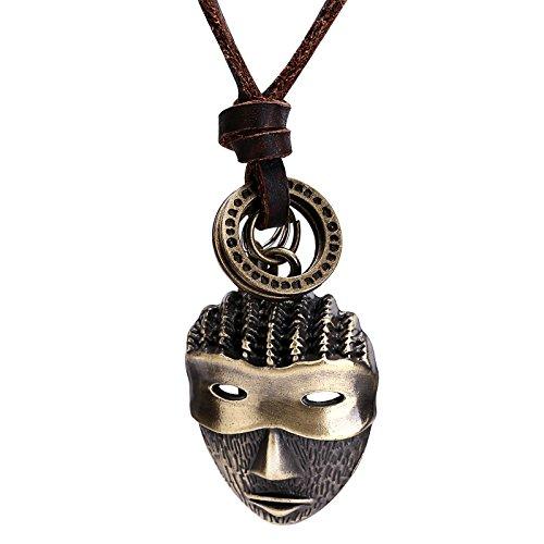 Epinki Herren Lederhalsband, Edelstahl Vintage Maske Anhänger Einstellbar Leder Rope Gold Anhänger Lederkette Herrenkette (Sie Aus Eine Maske Machen Foto Einem)
