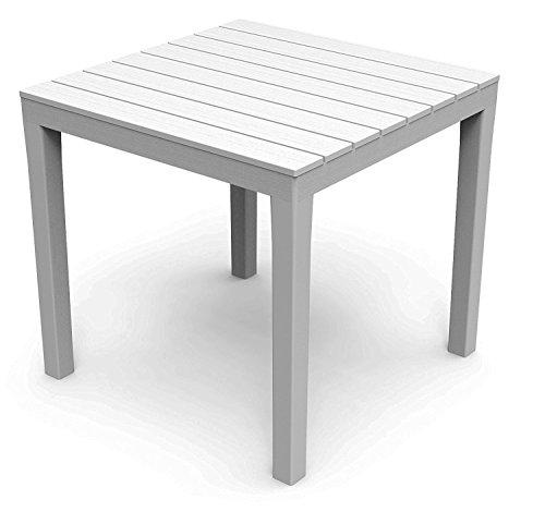 Mojawo Bistrotisch Kunststoff 78x78cm Weiß eckig Balkontisch Gartentisch Terrassentisch Holzoptik