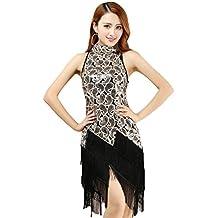 YiJee Mujer Lentejuelas Vestido de baile Latino Elegante Borla Vestido de Fiesta