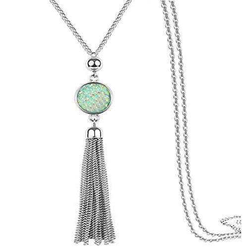 Lange Kette Quaste Halskette Anhänger Harz Pullover Kette Bohème-Stil für Frauen, Farbwechsel (Weiß) (Schnalle Arizona)