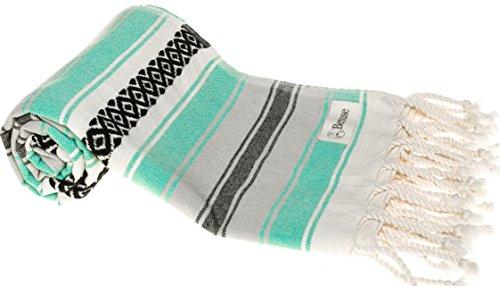 Bersuse 100% cotone - asciugamano coperta turco xl san jose - coperta multiuso per letto o divano, tovaglia o tappeto da picnic - peshtemal fouta per bagno e spiaggia - pestemal classico striato - 145 x 235 cm, menta verde