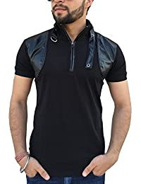 Tees Collection Men's Stylish Leather Flap Dragon Neck T-Shirt (Black_TCLF001)