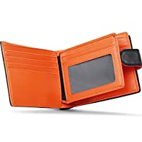 Wallets Mens RFID Blocking Genuine Leather with Zip Coin Pocket Purse & Banknote Compartment & Botton Closure & 17 Credit Card Slots,ID Window,Slim Minimalist Wallet with Gift Box for Men-Black&Orange