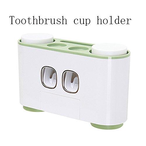 LZ Soporte para cepillos de dientes montaje en pared vaso de enjuague bucal dispositivo de almacenamiento dispensador de pasta de dientes automática sin taladrar ni clavar (Color : Green)
