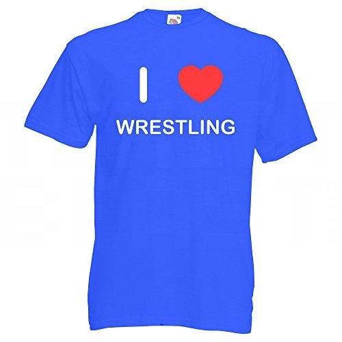 I Love Wrestling - T-Shirt Blau