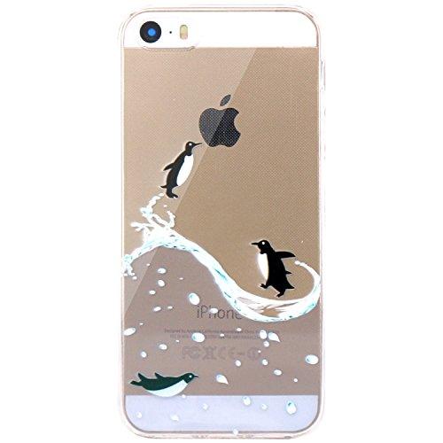 JIAXIUFEN Neue Modelle TPU Silikon Schutz Handy Hülle Case Tasche Etui Bumper für Apple iPhone 5 5S SE - Flying Penguin Penguin Gel