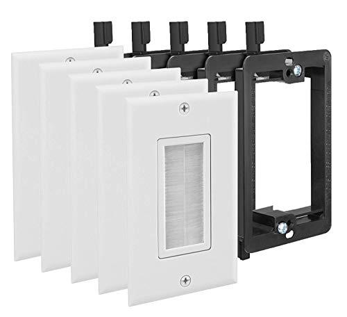 Fosmon Cable Wallplate - Weiß Idealer Bürstentyp für Lautsprecherdateien, Spielekonsolen oder Wandfernseher (Koaxialkabel, HDTV, HDMI.) - Packung mit 5 Stück -