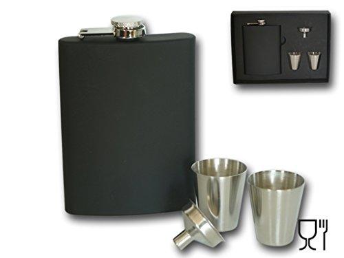 Bambelaa! Design Flachmann Set Edelstahl schwarz 8 oz Geschenk mini Trichter Whiskey Becher 30 ml (Trichter 8 Oz)