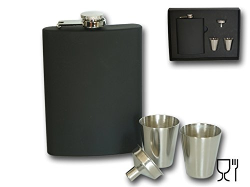 Bambelaa! Design Flachmann Set Edelstahl schwarz 8 oz Geschenk mini Trichter Whiskey Becher 30 ml
