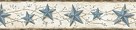 Chesapeake CTR65366B June Blue Heritage Tin Star Wallpaper Border by Chesapeake