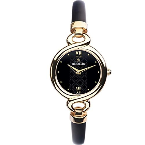 Michel Herbelin Siam Femme 25mm Bracelet Cuir Noir Quartz Montre 17435/BNP14