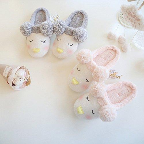 Fortuning's JDS Unisexe Adultes Couple Confortable Chaussures en tissu polaire Charmant manchot agréable pantoufles avec ponpon oreilles Rose