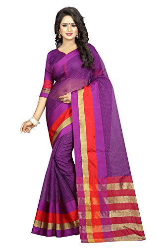 Perfectblue Cotton Silk Saree With Blouse Piece(PurpleBanarsiSilk_Purple)