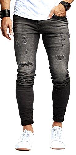 LEIF NELSON Herren Hose Jeans Stretch Schwarz Jeanshose Freizeithose Denim Slim Fit LN9910SC; W30L32, Blau