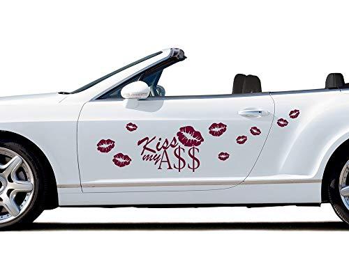 GRAZDesign Autoaufkleber lustig Sprüche Kiss My Ass, Autotattoo Kussmund, Seitenaufkleber / 100x57cm / 023 Creme -
