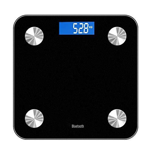jEZmiSy Digitale Personenwaage, Smart Body Fett 13-Index Monitor LED Anzeige Bluetooth BMI Fitness Wiegen Waage, Fördern Sie EIN gesundes Leben und halten Sie Sich fit Black