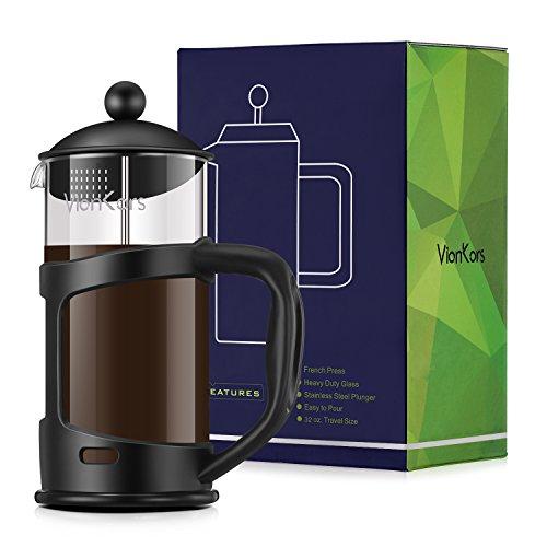 Decen Kaffeebereiter mit Edelstahlfilter, Kaffeekanne, French Press System und Zweilagigem Edelstahl Konstruktion - 1L