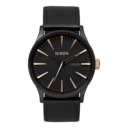nixon-sentry-42mm-leather-watch-matte-black-gold