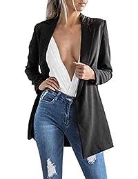 799bb533db25 laamei Femmes Chic Élégant Vestes de Tailleur Blazer Bureau Business Jacket  Manche Longue Slim Élégant Petite
