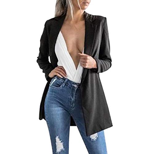 Dihope, Blazer Slim Fit Costume Basique pour Femme Veste de Tailleur Slim OL Manches Longues Manteau Casual Cardigan Jacket Coat Affaires Bureau (FR 36 (Tag M), Noir 2)