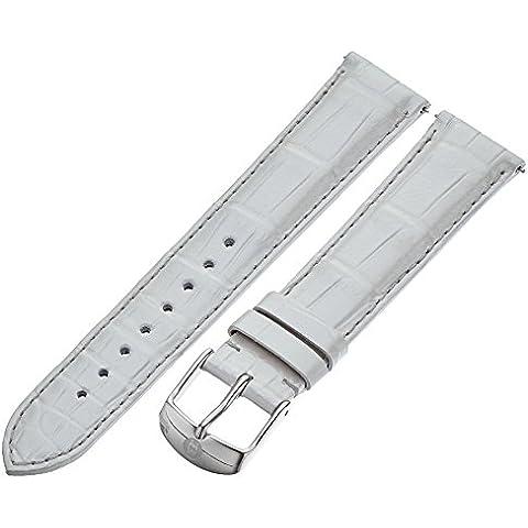 Michele coccodrillo, 18 mm, argento, Cinturino per orologio