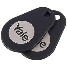 Yale P-YD-01-CON-RFIDT-BL Smart Door Lock Key Tags, Black, Pack of 2