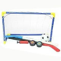 Niños Elf Sports, lommer 2en 1DIY Jardín portería de fútbol portería de fútbol y portería de hockey sobre hielo con pelota y bomba Set de interior/exterior de juguete para niños