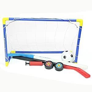 Football Goal, Finer Shop 2 in 1 Kids Sports Soccer & Ice Hockey Goals with Balls and Pump Practice Scrimmage Game Cool Sport Game for Kids