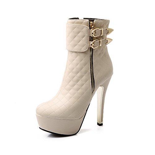 AgooLar Damen Rein Hoher Absatz Reißverschluss Rund Zehe Stiefel mit Metallisch, Weiß, 41