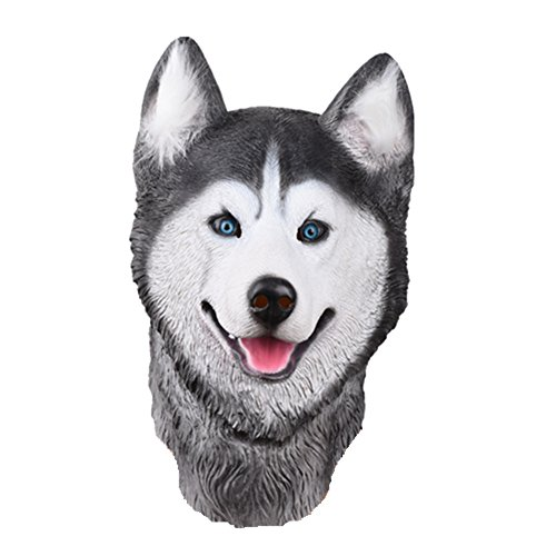 Party Story Husky Siberiano Máscara de Animal de Látex Novedad Disfraz de Halloween Máscaras