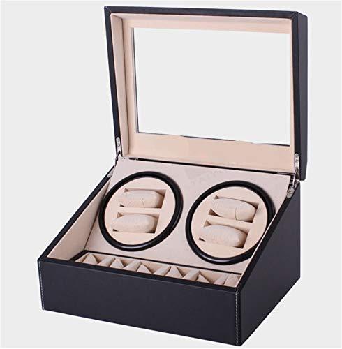 QHCGOOD Automatischer Uhrenbeweger, super leise Vier Rotationsmodi 4 + 6 Speicher Box Holzhülle 2 AA Batterie (Nicht enthalten) 305 * 238 * 180mm -