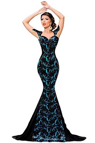 COSIVIA Femmes Argenté Paillette Embellissement Sirène élégante Robes de soirée avec Arc Noir