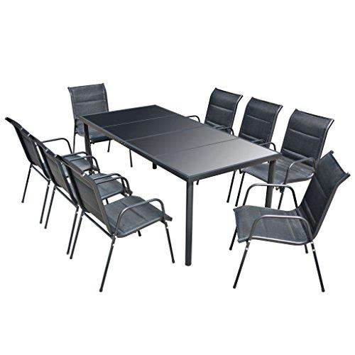 vidaXL Garten Essgruppe 9-tlg. Gartenmöbel Sitzgruppe Gartengarnitur Gartenset (Gehärtetem Stahl-rahmen Aus Glas)