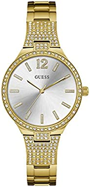 Guess Dress Watch for Women, Stainless Steel Case, Gold Dial, Analog