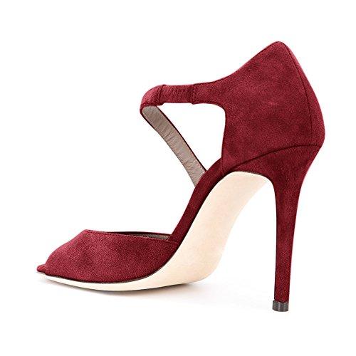 Damen Peep Toe Sandalen D'Orsay Pumps Samt Stiletto High-Heels Weinrot