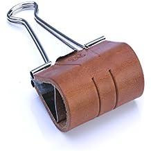 X17-Sloop (Foldback-Klammer, Stiftklemme-Stiftlasche, Pen-Loop, Stifthalter) mit Leder und Filz veredelt; Breite: 50mm Leder (vegetabil gegerbt) brandy