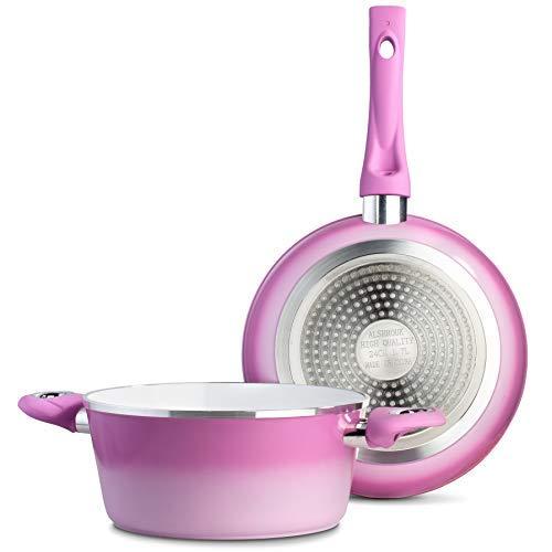 étoile de chef de qualité professionnelle en aluminium anti-adhésif Lot de casseroles et poêles-Compatible plaques à induction batterie de cuisine-Rouge/crème rose